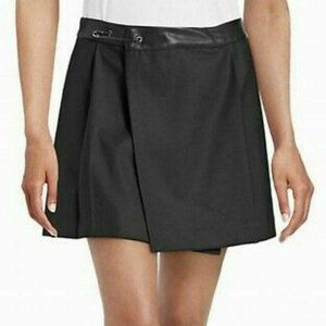 Diesel Black Wool Blend Pleated Mini Skirt Leather